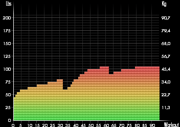 Stylish graph displays long term statistics for each workout and set you ever performed
